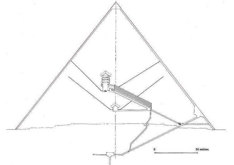 doorsnede van de piramide van khufu  cheops  schets  wikipedia
